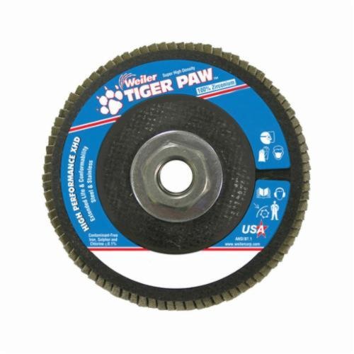Tiger Paw™ 51166 Super High Density High Performance Coated Abrasive Flap Disc, 4-1/2 in Dia, 60 Grit, Medium Grade, Zirconia Alumina Abrasive, Type 27/Flat Disc