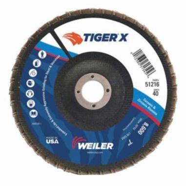 Tiger® X 51221 Standard Density Coated Abrasive Flap Disc, 7 in Dia, 60 Grit, Medium Grade, Zirconia Alumina/Ceramic Alumina Abrasive, Type 29/Angled Disc