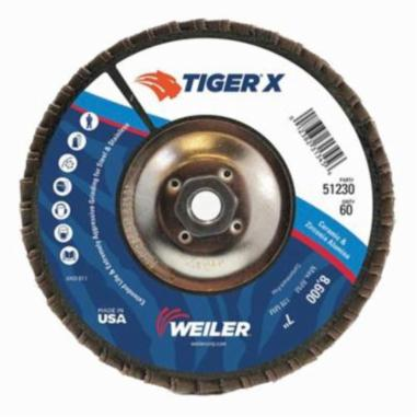 Tiger® X 51226 Standard Density Coated Abrasive Flap Disc, 4-1/2 in Dia, 40 Grit, Coarse Grade, Zirconia Alumina/Ceramic Alumina Abrasive, Type 27/Flat Disc