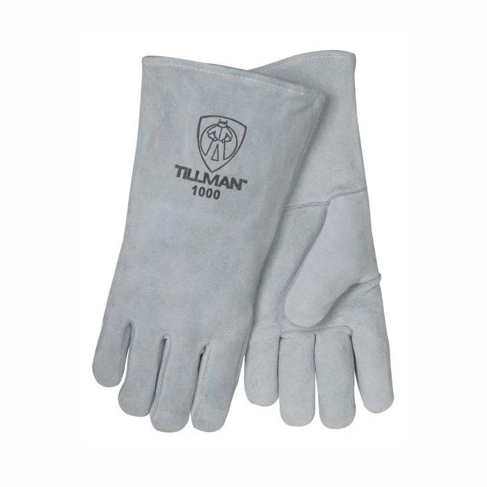 Tillman™ 1000-L Economy Grade Stick Welding Gloves, L, Shoulder Split Cowhide Leather, Pearl, Cotton, 14 in L