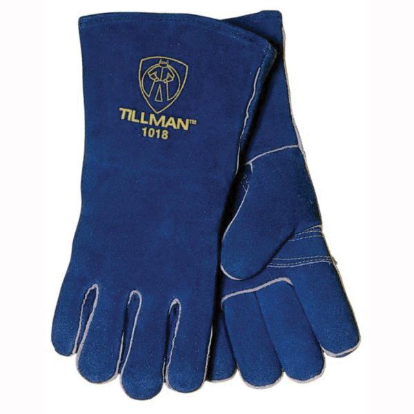 Tillman™ 1018 Stick Welding Gloves, Shoulder Split Cowhide Leather, Brown, Cotton/Foam, Gauntlet Cuff, 14 in L