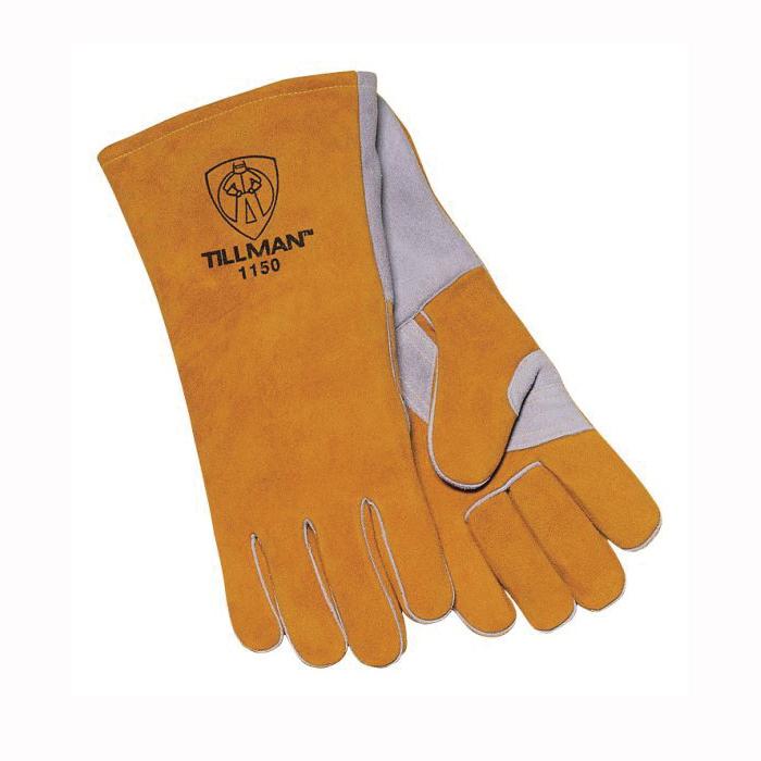 Tillman™ 1150-L Stick Welding Gloves, L, Side Split Cowhide Leather, Gold/Pearl, Cotton/Foam Lining, 14 in L