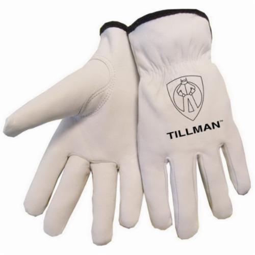 Tillman™ 1415 Premium Grade General Purpose Gloves, Drivers, Grain Goatskin Leather, Pearl, Elastic Slip-On Cuff, Resists: Abrasion, Unlined Lining, Gunn Cut/Keystone Thumb