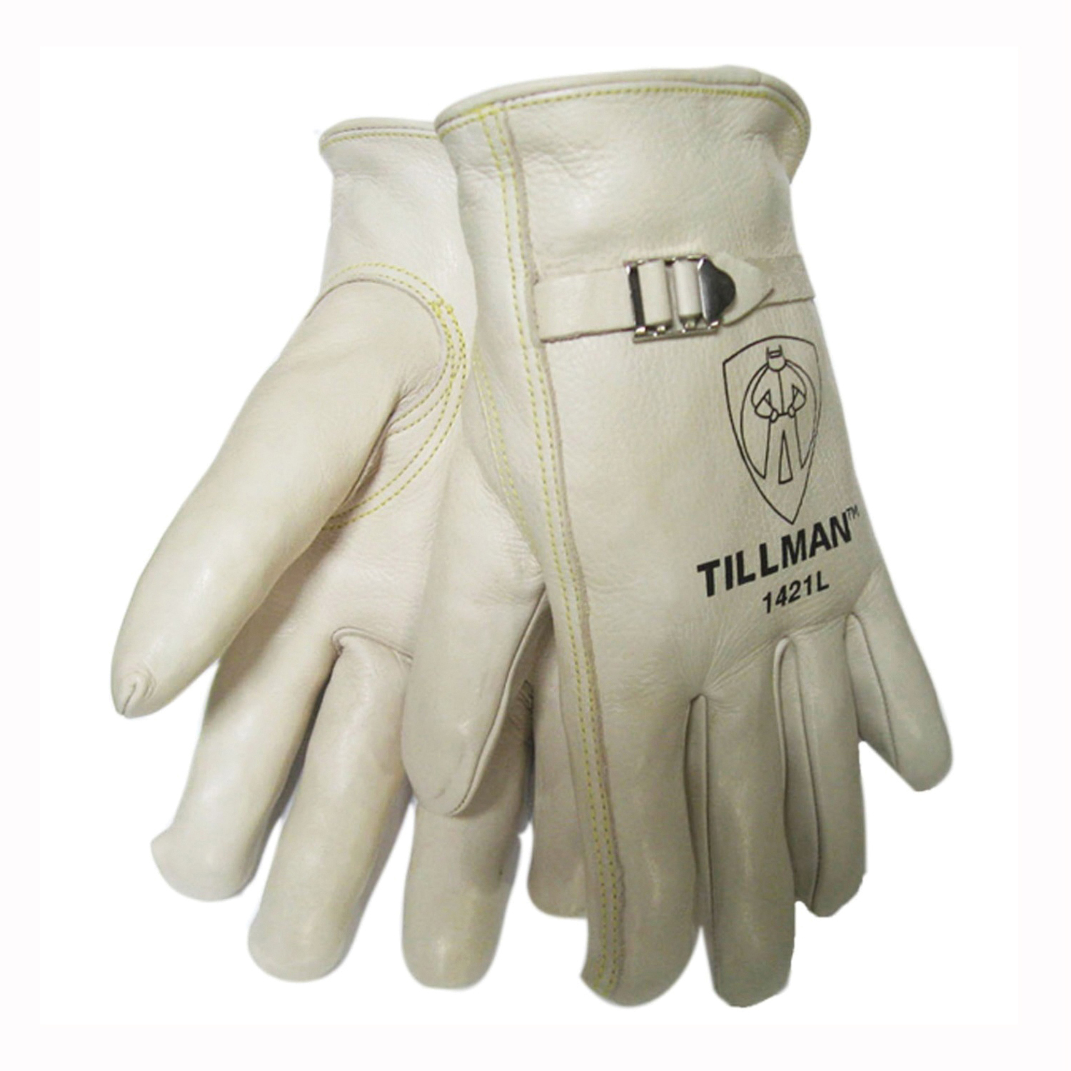 Tillman™ 1421 Premium Grade General Purpose Gloves, Drivers, Top Grain Cowhide Leather, Pearl, Rolled Cuff, Unlined Lining, Gunn Cut/Keystone Thumb