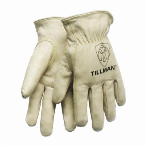 Tillman™ 1424 Premium Grade General Purpose Gloves, Drivers, Grain Cowhide Leather, Pearl, Rolled Cuff, Unlined Lining, Gunn Cut/Keystone Thumb