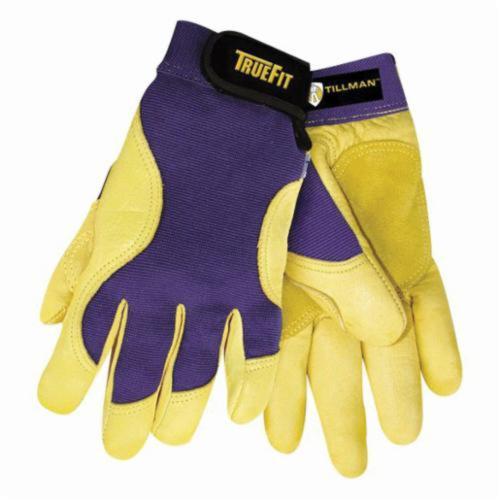 Tillman™ TrueFit™ 1480 High Dexterity Premium Grade General Purpose Gloves, Mechanics, Grain Gold Deerskin Palm, Top Grain Gold Deerskin Leather, Purple/Yellow, Elastic Cuff, Uncoated Coating, Unlined Lining, Reinforced Thumb