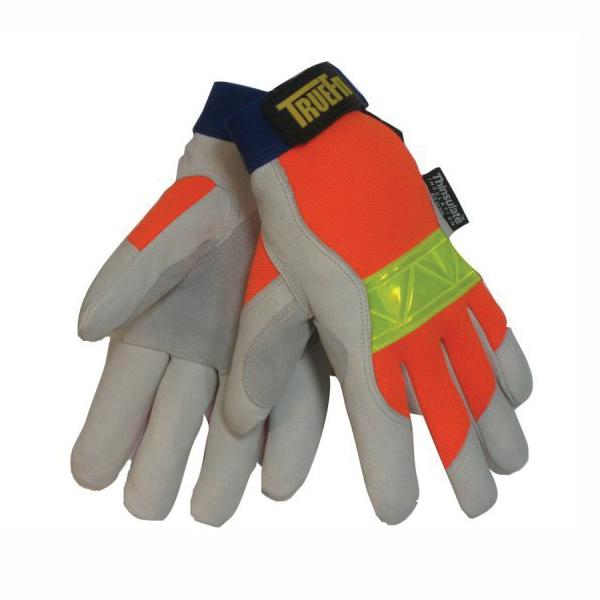 Tillman™ TrueFit™ 1486 Premium Grade General Purpose Gloves, Leather Palm, Grain Pigskin Leather Palm, Spandex®, Orange, Elastic Cuff, Resists: Moisture, Thinsulate™ Lining, Reinforced Thumb