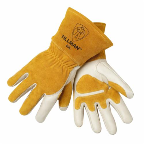 Tillman™ 50 Series Premium Grade MIG Welding Gloves, Split Cowhide Leather Back/Kevlar® Stitching/Split Cowhide Leather Cuff, Pearl, Fleece, Gauntlet Cuff, 14 in L