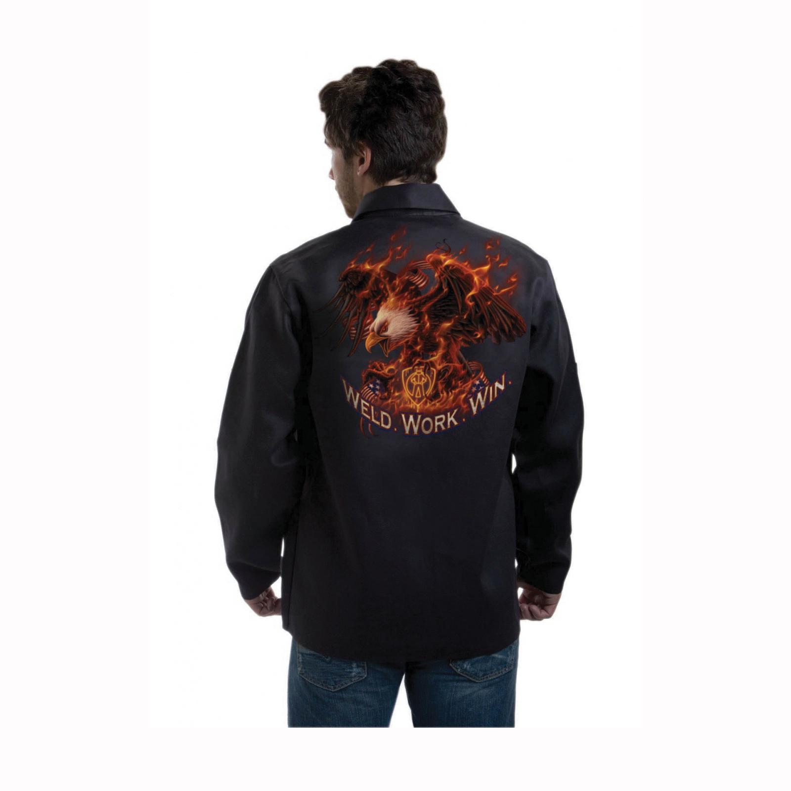 Tillman™ Onyx 9063-XL Light Duty Welding Jacket, XL, Westex® FR7A® Cotton, Black, Resists: Flame