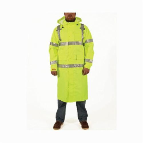 Tingley Icon™ C24122-LG Coat, Green/Hi-Viz Fluorescent Yellow, 12 mil Polyurethane on 300D Polyester, 52 in Chest, Resists: Mildew and Water, Specifications Met: ASTM E96, ANSI/ISEA 107 Class 3 Type R