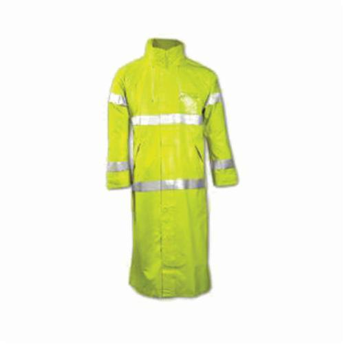 Tingley Comfort-Brite® C53122-LG General Purpose Rain Coat, Unisex, L, Fluorescent Yellow/Green, Polyester/PVC, Resists: Many Acids, Oils, Alcohols, Salts and Alkalies, Flame, Mildew and Water, Specifications Met: ASTM D6413