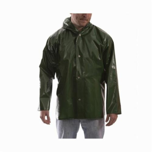 Tingley Iron Eagle® J22168-LG Lightweight Rain Jacket With Attached Hood, Unisex, L, Green, Polyurethane on 210D Nylon, Resists: Fats, Oils, Pine Tars, Gasoline, Grease, Mildew, Hydrocarbon Oils, Organic Acids, Salts, Alkalies and in Some Organic Solvents