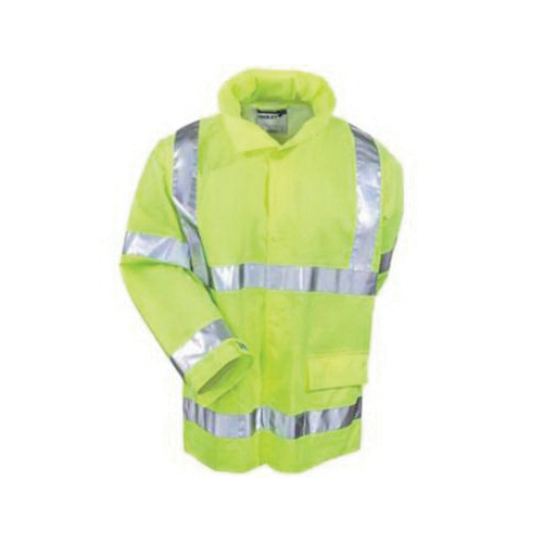 Tingley Vision™ J23122-SM Rain Jacket, Unisex, S, Fluorescent Yellow/Green, Polyurethane on 150D Polyester, Resists: Mildew and Water, Specifications Met: ASTM E96