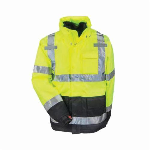 Tingley J24172-2X Icon™ 3.1 Trilobal Jacket, Black/Fluorescent Yellow/Green, Polyurethane/300D Polyester, 60 in Chest, Resists: Mildew and Water, Specifications Met: ANSI/ISEA 107 Type R Class 3, ASTM E96