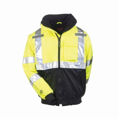 Tingley J26002-XL J26002 Bomber Jacket, Black Silver/Green/Hi-Viz Fluorescent Yellow, 300D Polyurethane Coated Polyester, 55 in Chest, Resists: Water, Specifications Met: ANSI/ISEA 107 Class 3 Type R