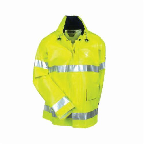 Tingley J42122-2X Electra® Rain Jacket, Men's, 2XL, Hi-Viz Lime Yellow, Nomex® PVC, Resists: Arc Flash Flame, Chemical and Mildew, Specifications Met: ASTM D6413/F1891