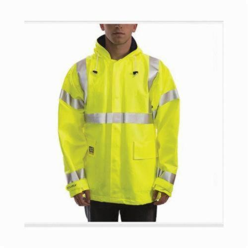 Tingley Eclipse™ J44122-MD Quad-Hazard® Arc Flash and FR Jacket, M, Fluorescent Yellow/Green, FR PVC on Non-Woven Nomex®, 50 in Chest, Resists: Chemicals, Fire, Flame, Mildew and Water