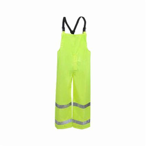 Tingley Vision™ O23122-MD 2-Piece Bib Overall, Unisex, M, Fluorescent Yellow Green, 7 mil Polyurethane on 150D Polyester, 29 in L Inseam