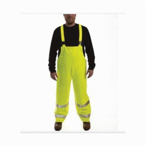 Tingley Eclipse™ O44122-MD Quad-Hazard® 2-Piece Bib Overall, Unisex, M, Fluorescent Yellow Green, FR PVC on Non-Woven Nomex®, 28 in L Inseam