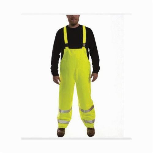 Tingley Eclipse™ O44122-4X Quad-Hazard® 2-Piece Bib Overall, Unisex, 4XL, Fluorescent Yellow Green, FR PVC on Non-Woven Nomex®, 32 in L Inseam