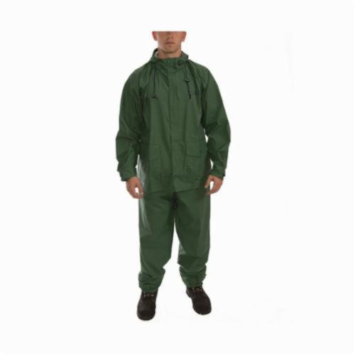 Tingley Storm-Champ® S66218-LG 2-Piece Multi-Purpose Rainsuit, Men's, L, Forest Green, Nylon/PVC, 46 in Waist, 30 in L Inseam, Attached Hood