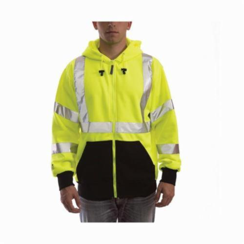 Tingley Job Sight™ S78122-5X S78122 Class 3 Hooded Sweatshirt, 5XL, Fluorescent Yellow/Green/Black, Polyester, 34 in L