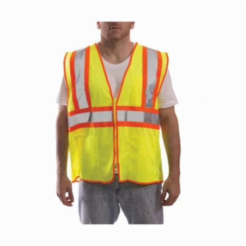 Tingley Job Sight™ V70642-2X-3X 2-Tone Safety Vest, 2XL to 3XL, Hi-Viz Fluorescent Yellow/Green, Polyester Mesh, Zipper Closure, 4 Pockets, ANSI Class: Class 2, Specifications Met: ANSI/ISEA 107-2015 Type R