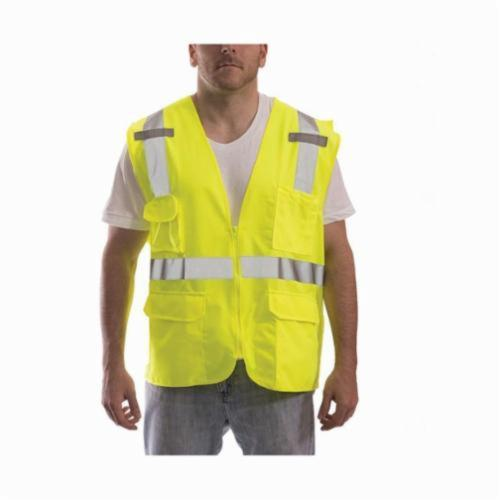 Tingley Job Sight™ V73832-S-M Surveyor Safety Vest, S to M, Fluorescent Yellow/Green, Polyester Mesh, Zipper Closure, 8 Pockets, ANSI Class: Class 2, Specifications Met: ANSI/ISEA 107-2015 Type R