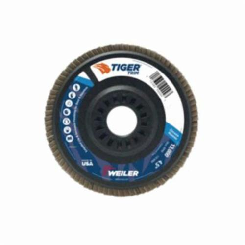 Trimmable Tiger® 50015 Coated Abrasive Flap Disc, 5 in Dia, 60 Grit, Medium Grade, Zirconia Alumina Abrasive, Type 29/Angled Disc