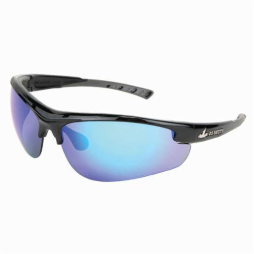 U.S. Safety™ DM1218B Dominator™ DM2 Premium Dual Lens Safety Glasses, BossMan™ Mirror Duramass® HC Blue Diamond Mirror Lens, Black Polycarbonate Frame, Specifications Met: ANSI Z87+