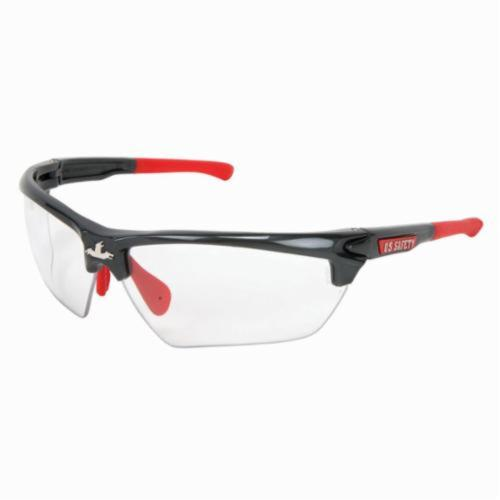 U.S. Safety™ DM1310PF Dominator™ DM3 Premium Dual Lens Safety Glasses, MAX6™ Anti-Fog Clear Lens, Gunmetal Polycarbonate Frame, Specifications Met: ANSI Z87+, MIL-PRF-31013