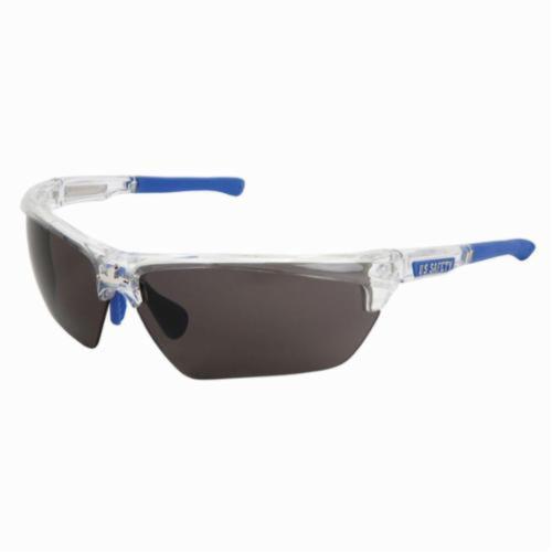 U.S. Safety™ DM1322PF Dominator™ DM3 Premium Dual Lens Safety Glasses, MAX6™ Anti-Fog Gray Lens, Clear Polycarbonate Frame, Specifications Met: ANSI Z87+, MIL-PRF-31013