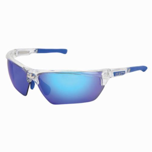 U.S. Safety™ DM1328BZ Dominator™ DM3 Premium Dual Lens Safety Glasses, BossMan™ Mirror Duramass® HC Blue Diamond Mirror Polarized Lens, Clear Polycarbonate Frame, Specifications Met: ANSI Z87+, MIL-PRF-31013