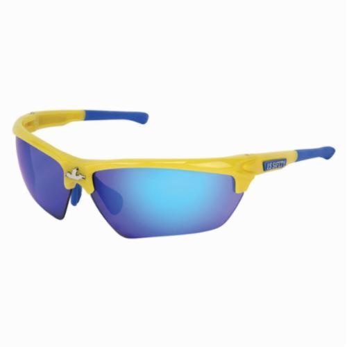 U.S. Safety™ DM1348B Dominator™ DM3 Premium Dual Lens Safety Glasses, BossMan™ Mirror Duramass® HC, Blue Diamond Mirror Lens, Yellow, Polycarbonate Frame, ANSI Z87+, MIL-PRF-31013
