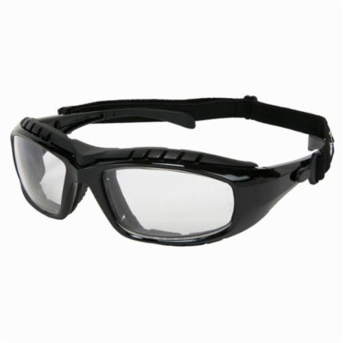 U.S. Safety™ HDX110AF Hornet DX Indirect Vented Dual Lens Safety Glasses With Elastic Strap, Duramass® Anti-Fog Clear Lens, Black Polycarbonate Frame, Specifications Met: ANSI Z87+