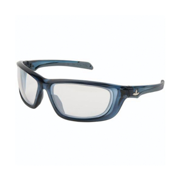 U.S. Safety™ UD129 USS Defense UD1 Premium Dual Lens Safety Glasses, BossMan™ Mirror Duramass® HC, Indoor/Outdoor Clear Mirror Lens, Translucent Dark Blue, Polycarbonate Frame, ANSI Z87+, MIL-PRF-31013