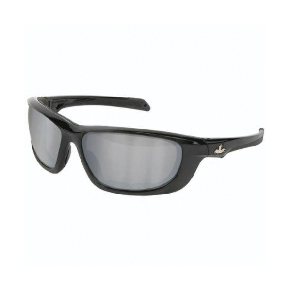 U.S. Safety™ UD217 USS Defense UD2 Premium Dual Lens Safety Glasses, BossMan™ Mirror Duramass® HC, Silver Mirror Lens, Black, Polycarbonate Frame, ANSI Z87+, MIL-PRF-31013