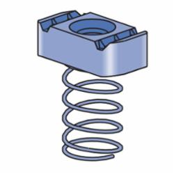 Unistrut® P1010-EG Channel Nut With Spring, 1/2-13 Thread, UNC Thread, For Use With P1000, P1100, P2000 and P3000 Series 1-5/8 in Channel, Mild Steel