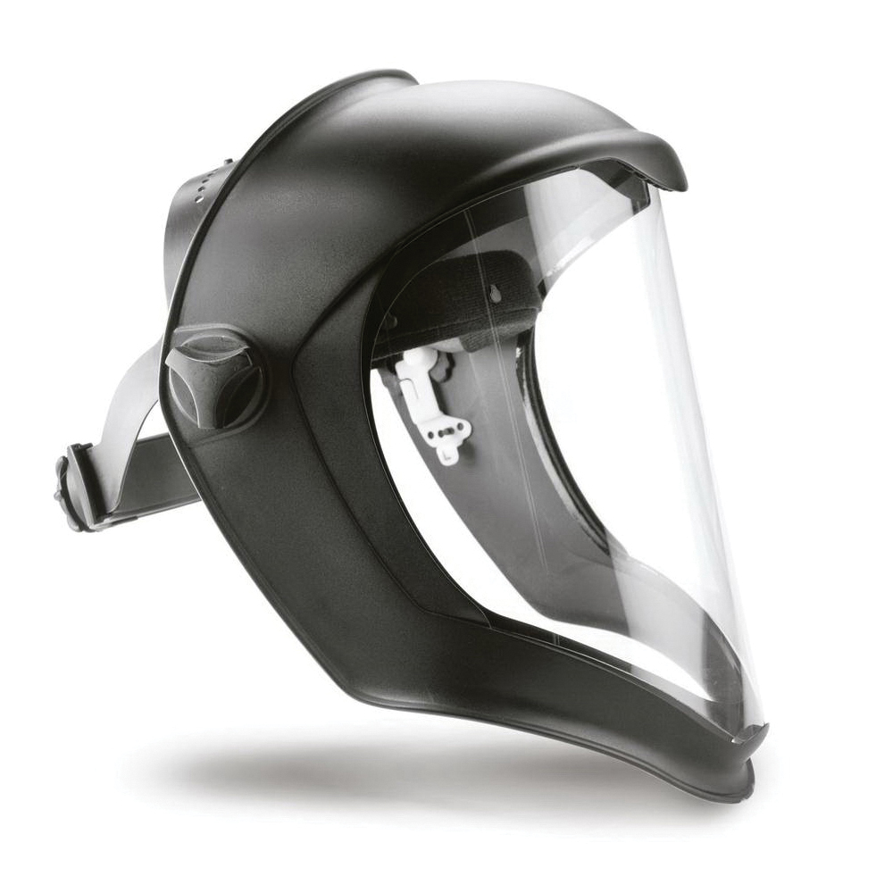 Honeywell Uvex® S8500 Bionic® Faceshield Assembly, Clear Polycarbonate Glass 9-1/2 in H x 14-1/4 in W x 3/64 in THK Visor