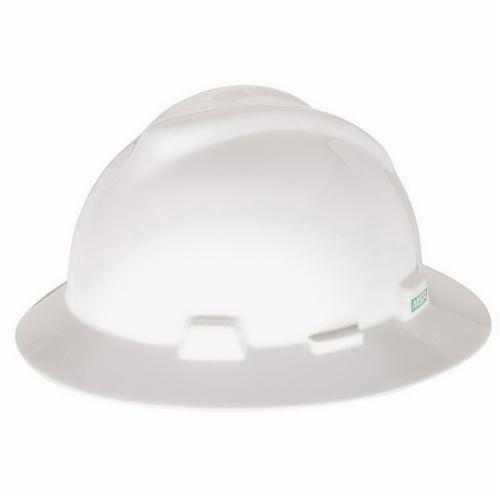 V-Gard® 475369 Full Brim Hard Hat, SZ 6-1/2 to 8 Fits Mini Hat, Polyethylene, 4-Point Fas-Trac® III Suspension, ANSI Electrical Class Rating: Class E, ANSI Impact Rating: Type I, Ratchet Adjustment