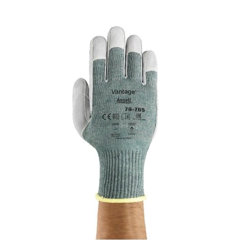Ansell Vantage® 245715 70-765 Heavy Duty Cut Resistant Gloves, SZ 9, Leather Coating, Acrylic/DuPont™ Kevlar®/Nylon/Polycotton, Knit Wrist Cuff, Resists: Abrasion, Cut and Puncture, ANSI Cut-Resistance Level: A5, ANSI Puncture-Resistance Level: 4