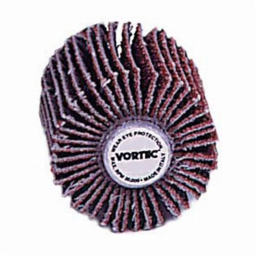 Vortec Pro® 30721 Coated Abrasive Flap Wheel, 1 in Dia, 1 in W Face, 1/4 in Dia Shank, 80 Grit, Medium Grade, Aluminum Oxide Abrasive