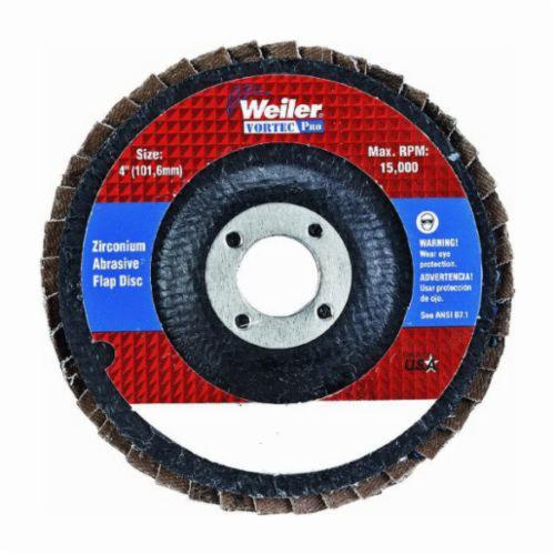 Vortec Pro® 30822 Fast Cut Coated Abrasive Flap Disc, 4 in Dia, 5/8 in Center Hole, 36 Grit, Very Coarse Grade, Zirconia Alumina Abrasive, Type 29/Angled Disc