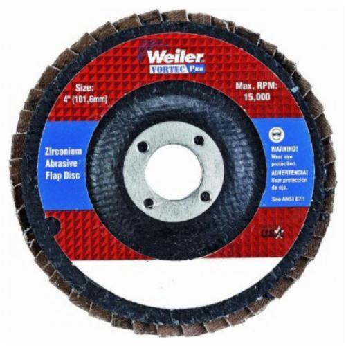 Vortec Pro® 30826 Fast Cut Coated Abrasive Flap Disc, 4 in Dia, 5/8 in Center Hole, 80 Grit, Medium Grade, Zirconia Alumina Abrasive, Type 29/Angled Disc