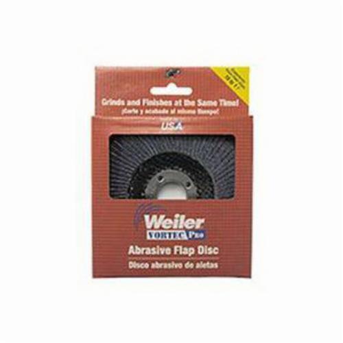 Vortec Pro® 30832 Fast Cut Coated Abrasive Flap Disc, 4-1/2 in Dia, 7/8 in Center Hole, 80 Grit, Medium Grade, Zirconia Alumina Abrasive, Type 29/Angled Disc