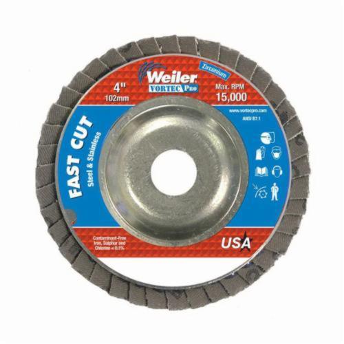 Vortec Pro® Wolverine™ 31339 Fast Cut Coated Abrasive Flap Disc, 4 in Dia, 5/8 in Center Hole, 60 Grit, Medium Grade, Zirconia Alumina Abrasive, Type 29/Angled Disc