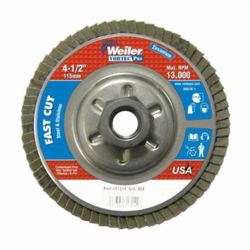 Vortec Pro® Wolverine™ 31310 Fast Cut Coated Abrasive Flap Disc, 4-1/2 in Dia, 7/8 in Center Hole, 80 Grit, Medium Grade, Zirconia Alumina Abrasive, Type 29/Angled Disc