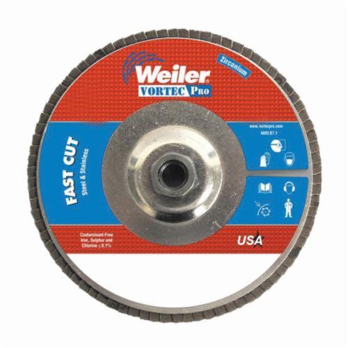 Vortec Pro® Wolverine™ 31332 Fast Cut Coated Abrasive Flap Disc, 7 in Dia, 40 Grit, Coarse Grade, Zirconia Alumina Abrasive, Type 29/Angled Disc