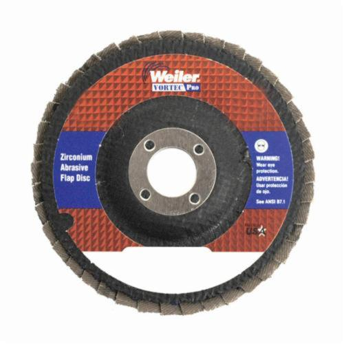 Vortec Pro® Wolverine™ 31358 Fast Cut Coated Abrasive Flap Disc, 5 in Dia, 7/8 in Center Hole, 80 Grit, Medium Grade, Zirconia Alumina Abrasive, Type 29/Angled Disc