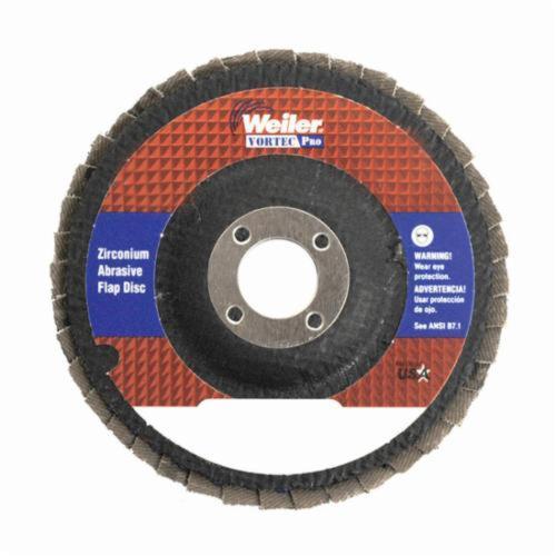 Vortec Pro® Wolverine™ 31340 Fast Cut Coated Abrasive Flap Disc, 4 in Dia, 5/8 in Center Hole, 80 Grit, Medium Grade, Zirconia Alumina Abrasive, Type 29/Angled Disc